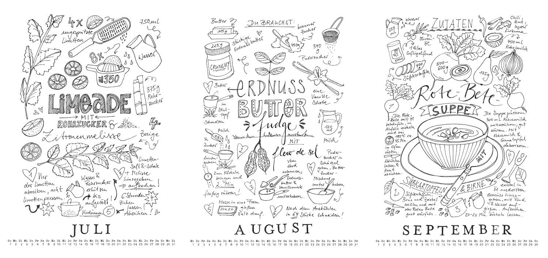 rezept doodle kalender 2018 freebie zum download fee. Black Bedroom Furniture Sets. Home Design Ideas